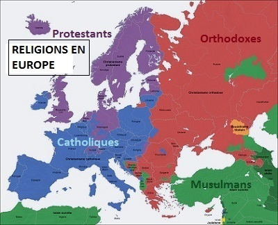 Les religions en Europe : Catholiques, Protestants, Orthodoxes, Musulmans.